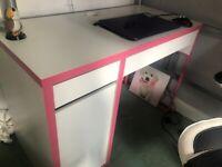 Child's Ikea Office Desk (White/Pink Trim)