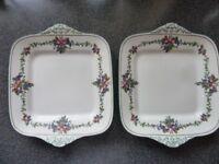 PAIR of Wedgwood Square Handled Cake Plates