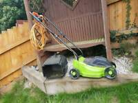Electric lawnmower with basket