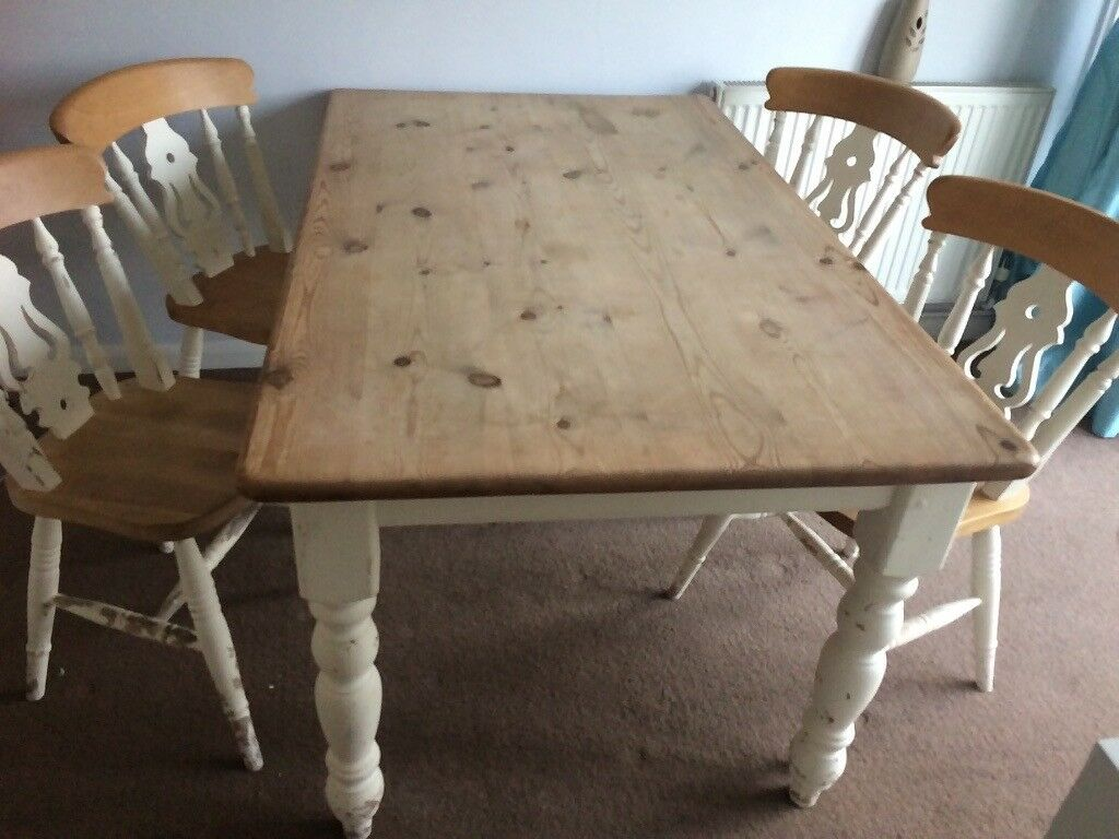 Pine 5foot table & 6 chairs