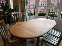 Lovely hand painted solid oak vintage retro Ercol colonial extendable dining table with 6 chairs