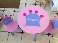 Child's princess table and two chairs