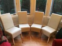 4 Cream Dining Chairs