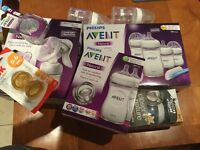 Advent, Nuk and Tommee Tippee bottles with manual hand pump