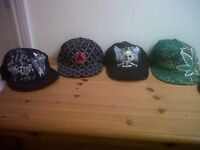 job lot of boys/mens flat peak caps