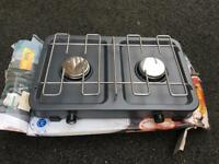Camping double gas hob burner
