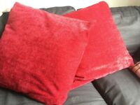 Red chenille cushions