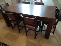 Rustic Dining table & six Chairs