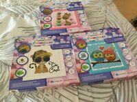 Crystal Art kits to make up. Set of three crystal art frame ables. Ideal gift. Age 6 plus.