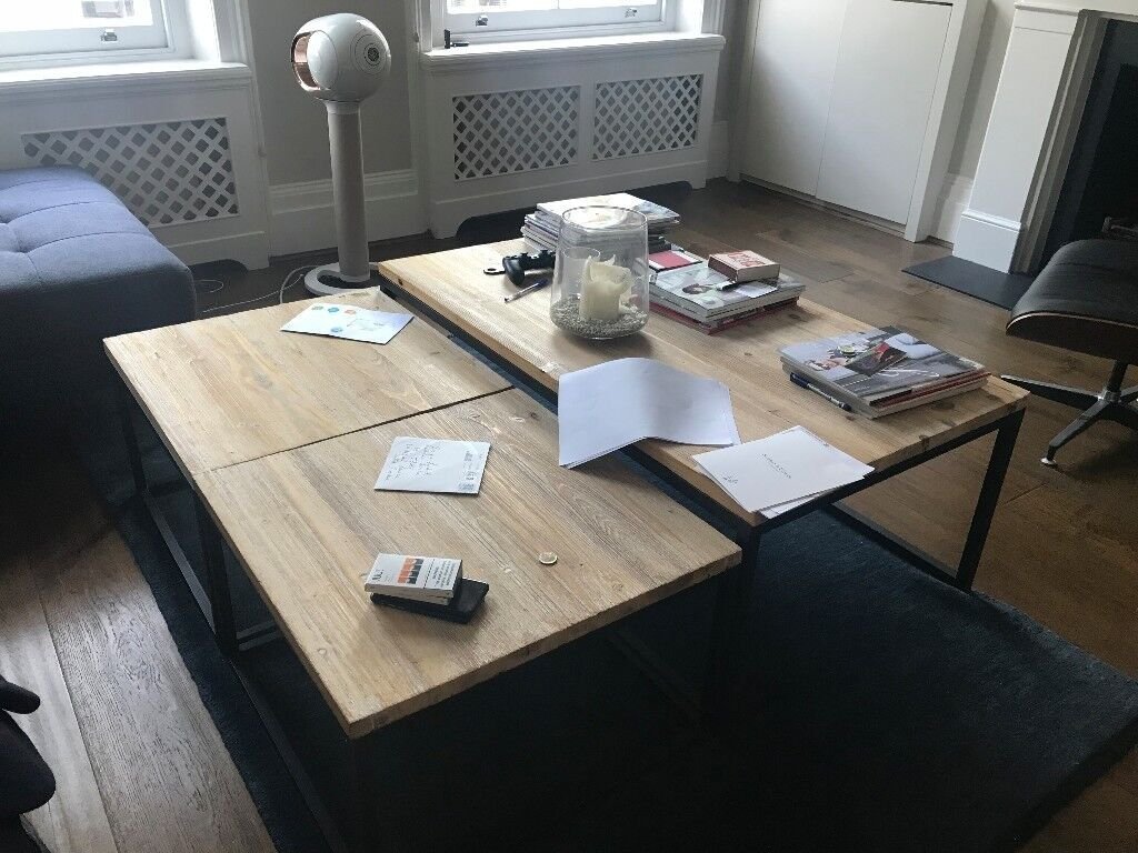 Maisons du Monde 3 Solid Fir and Metal Industrial Coffee Tables Long ...