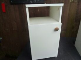 Bedside White Table Cabinet open back Delivery Available