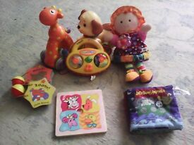 Selection of baby toys including Tony, Lamaze and vtech
