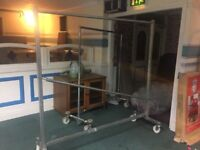 Retail Clothes Display rails on wheels heavy duty solid strong