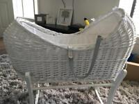 White wooden Moses basket & rocking stand