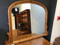 Pine over-mantle mirror