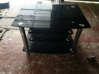 BLACK GLASS TRIPLE TIER TV STAND - MUST GO