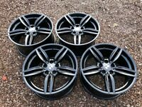 """Genuine 19"""" BMW 5 Series F10 Staggered Alloy Wheels Refinished in Gloss Black"""
