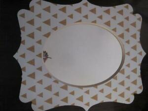 Deny Designs Glitter Triangles Quatrefoil Wall Mirror by Allyson Johnson. Birch Ply Frame. 22x 29. Quality Glass. NEW