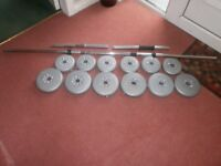 x2 weight lifting benches plus weights and barbell and x2 dumbells