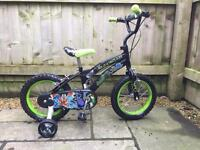 """Boys 14"""" 'Ben 10' themed bike with stabilisers"""