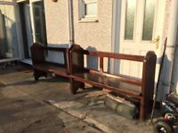 Old solid wood church pews x2