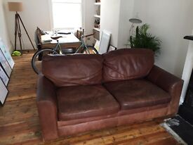 Characterful brown 3 seat leather sofa