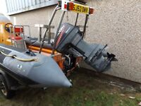 AVON SEA RIDER DIVE RIB WITH 60 HP MARINER REMOTE TILT & TRIM. GALVANISED TRAILER. WINTER BARGAIN.
