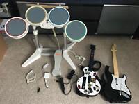 Wii Rockband Drums, Guitars, Microphone Full Setup (No Game)