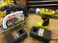 Ryobi One 18v Hammer Drill/Driver + Ryobi One 18v Cordless Circular Saw