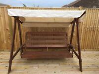 Solid wooden garden swinging bench