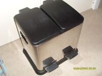 Chrome Double Pedal Bin with black surround