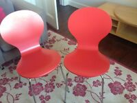 Red dining chairs x 2