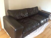 Large Black leather sofa