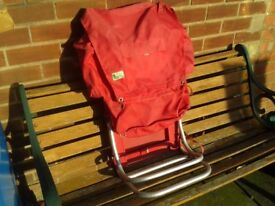 Aluminium framed rucksack/ backpack with fold out seat
