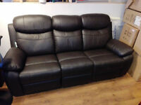 3+2 Seater Leather Recliner Sofa In Brown Brand New