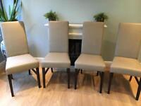Genuine beige leather dining table chairs