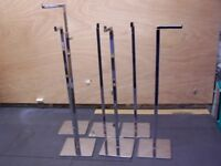 METAL DISPLAY STANDS X 6 - ADJUSTABLE HEIGHT - LIP AT END OF ARM