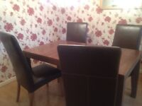 Solid mahogany dining table & 4 chairs