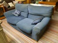 Sofa - Extra Comfy Quality Blue Fabric 2 Seater Sofa. It needs some wiping
