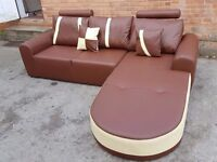Lovely BRAND NEW brown and cream leather corner sofa with chase lounge..in the box.Can deliver