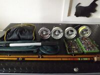 fishing equipment, reals fly rods snowby chest waders new 9