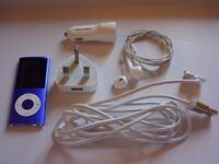 Purple Apple iPod Nano 4th Generation Version 16GB + Earphones + Home & Car Charger Plugs + Cable