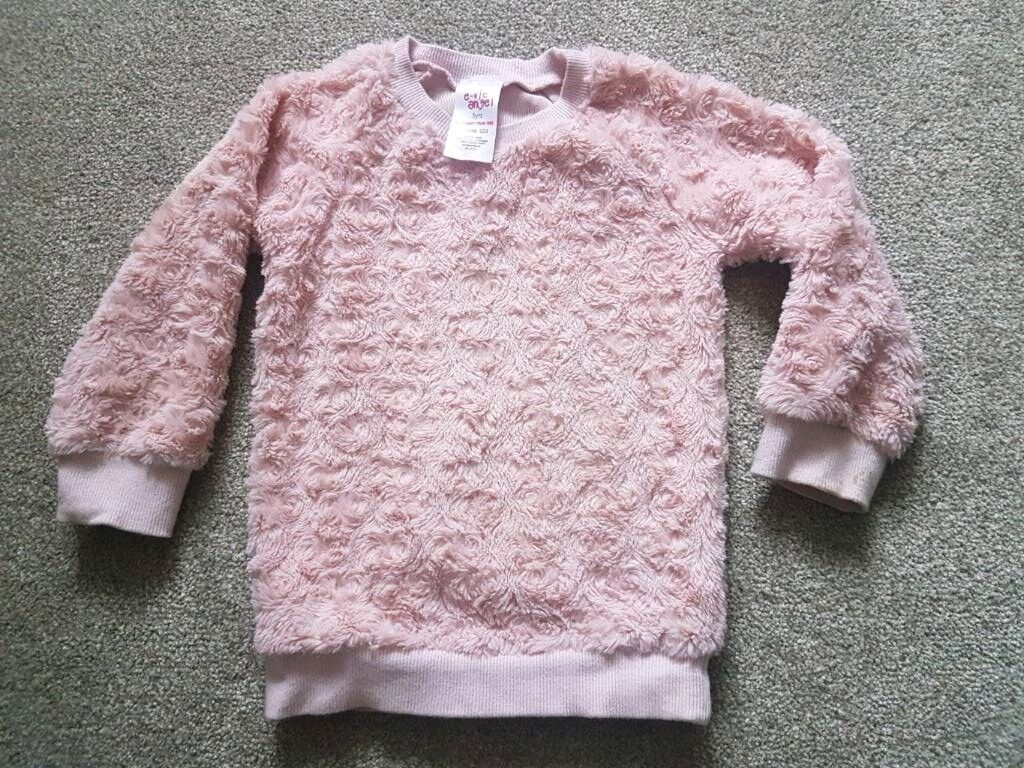 Evie Angel pink fluffy jumper 3 years