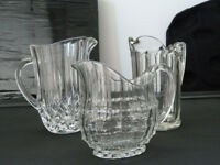 3 Lovely vintage glass jugs, excellent condition.