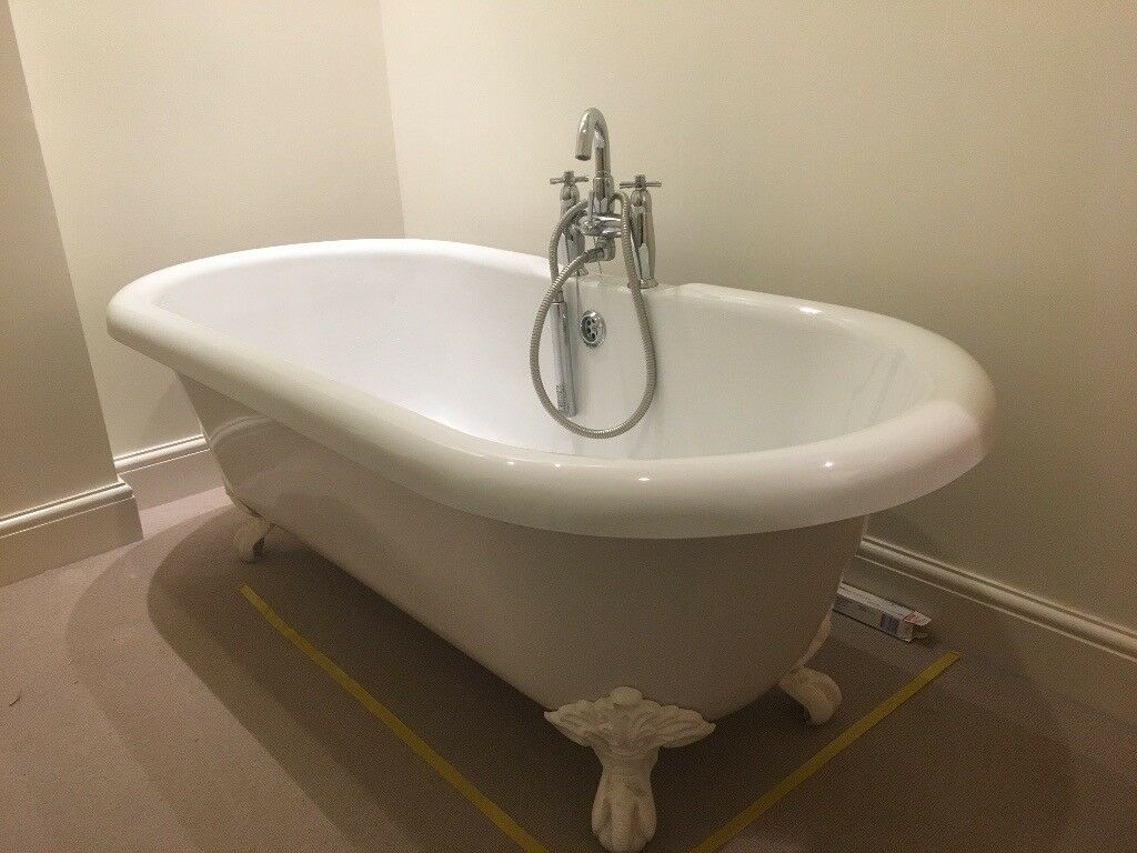 White Acrylic Roll Top Bath including taps and shower attachment ...
