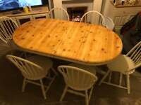 Shabby chic extendable table and 6 chairs solid pine