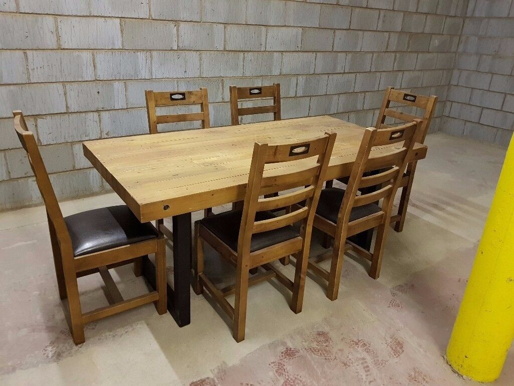 New York Large Fixed Dining Table 6 Chairs