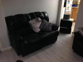 2 x recliner leather sofas