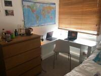 L-shaped white desk