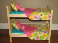 """Solid Wood Doll Beds for American Girl or other 18"""" dolls"""
